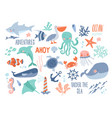 sea background - cute sea and ocean animals vector image