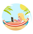 sea ocean beach vacation cute girl laptop flat vector image