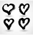 set hand drawn paint heart symbols for design vector image