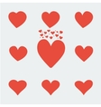 set of red asymmetric heart valentine day icons vector image