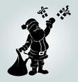 silhouette santa claus with a gifts vector image vector image