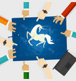 unicorn start-up tech company hands pointing white vector image vector image