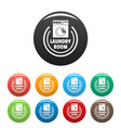 wash machine laundry room icons set color vector image vector image