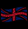 waving great britain flag mosaic of stop hand vector image vector image
