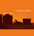 western village silhouette vector image vector image