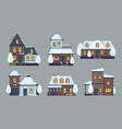 winter houses cute buildings with season snow vector image vector image