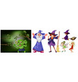 witch and wizard on white background vector image vector image