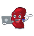 with laptop spleen character cartoon style vector image vector image