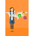 Woman holding tablet computer with social media vector image vector image