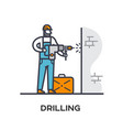 worker drills a wall vector image