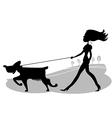 Young Woman walking the dog black silhouette vector image