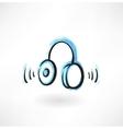 headphones grunge icon vector image