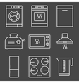 Kitchen appliance white icons vector image