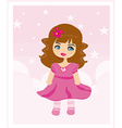 sweet little girl card vector image