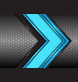 abstract blue black line arrow on hexagon mesh vector image