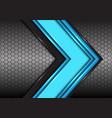 abstract blue black line arrow on hexagon mesh vector image vector image