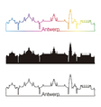 antwerp skyline linear style with rainbow vector image vector image