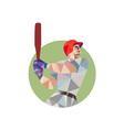 Baseball Batter Batting Circle Low Polygon vector image vector image
