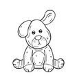 black and white a funny cartoon dog on white vector image