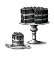 brownie cake hand drawn vintage engraving style vector image