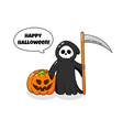 cartoon doodle card happy halloween background vector image vector image