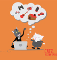 Cat Business thinking dreams on Computer vector image vector image