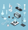 chemical laboratory equipment isometric lab vector image vector image