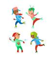 children christmas winter vacations holidays set vector image