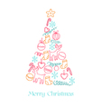 Christmas Card - Christmas Tree with Elements vector image vector image
