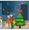 couple winter city landscape vector image vector image