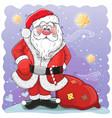 cute cartoon santa claus with bag vector image vector image