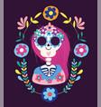 day dead female skeleton flowers folklore vector image