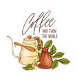 decorative composition with coffee pot cezve vector image vector image
