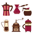 drip coffee makers and devices icons vector image vector image