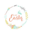 easter floral wreath with a rabbit vector image vector image