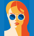 fashion portrait of a model girl with sunglasses vector image vector image