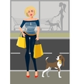 Fashionable woman with a dog near the shop vector image vector image