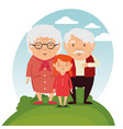 grandparents family with grandchildren vector image vector image