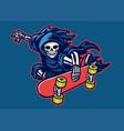 grim reaper skateboarding jump doing stunt trick vector image