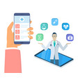 hand holding phone with medical app isometric vector image vector image