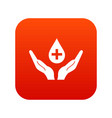 hands holding blood drop icon digital red vector image
