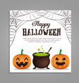 happy halloween card with pumpkins and cauldron vector image vector image