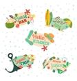 Hello summer Retro emblems vector image vector image