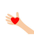 human hand arm holding red shining heart shape vector image
