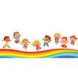 kids jumping on a rainbow like on a trampoline vector image