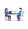 man and woman working on laptops vector image
