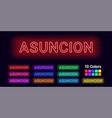 neon name of asuncion city vector image vector image