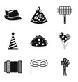 partying icons set simple style vector image vector image