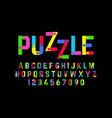 puzzle font jigsaw puzzle alphabet and numbers vector image vector image