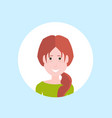 redheat woman face portrait on blue background vector image